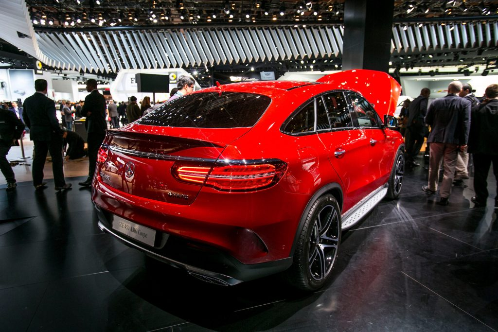 An image of a Mercedes-Benz GLE450 AMG in an auto show.