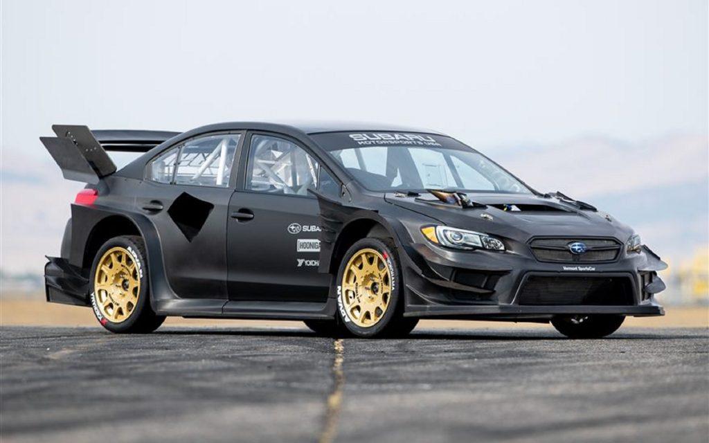 The bare carbon-fiber Gymkhana 11 Subaru WRX STI
