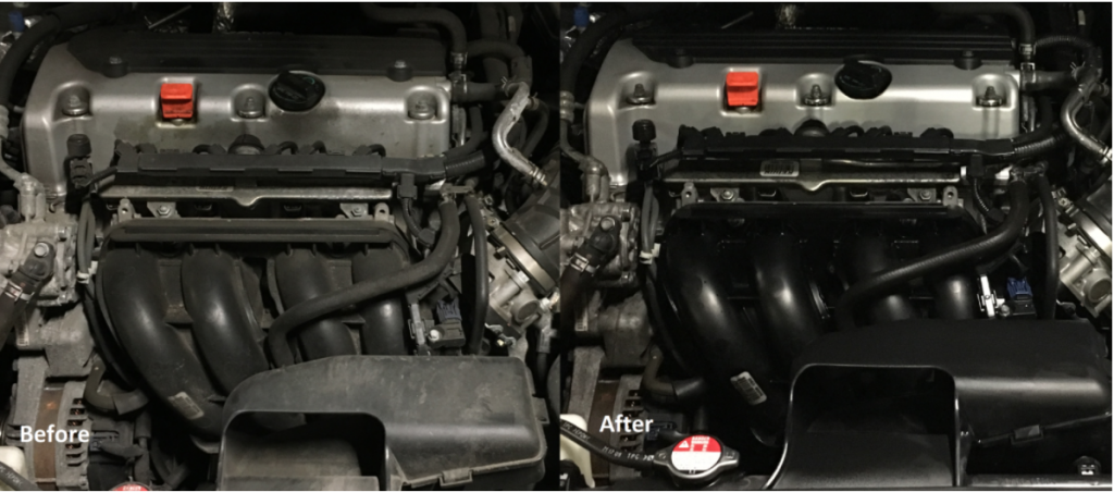 "A ""before and after"" shot of a Honda Accord engine bay cleaned by Scrubbing Bubbles"