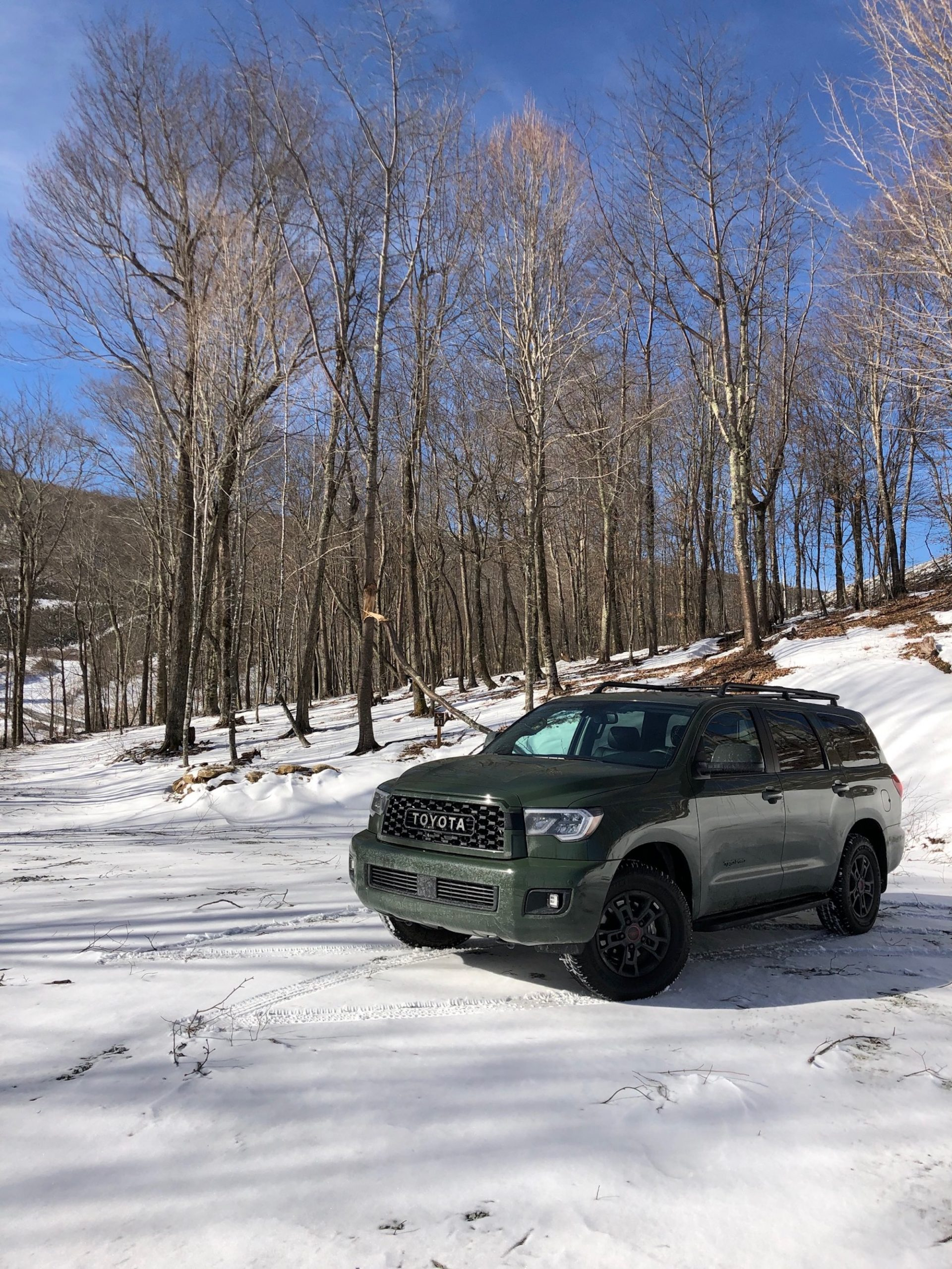 The army green 2020 Toyota Sequoia TRD Pro in the snow