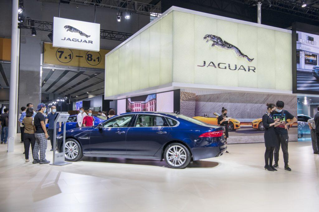 A Jaguar booth set up at an auto show