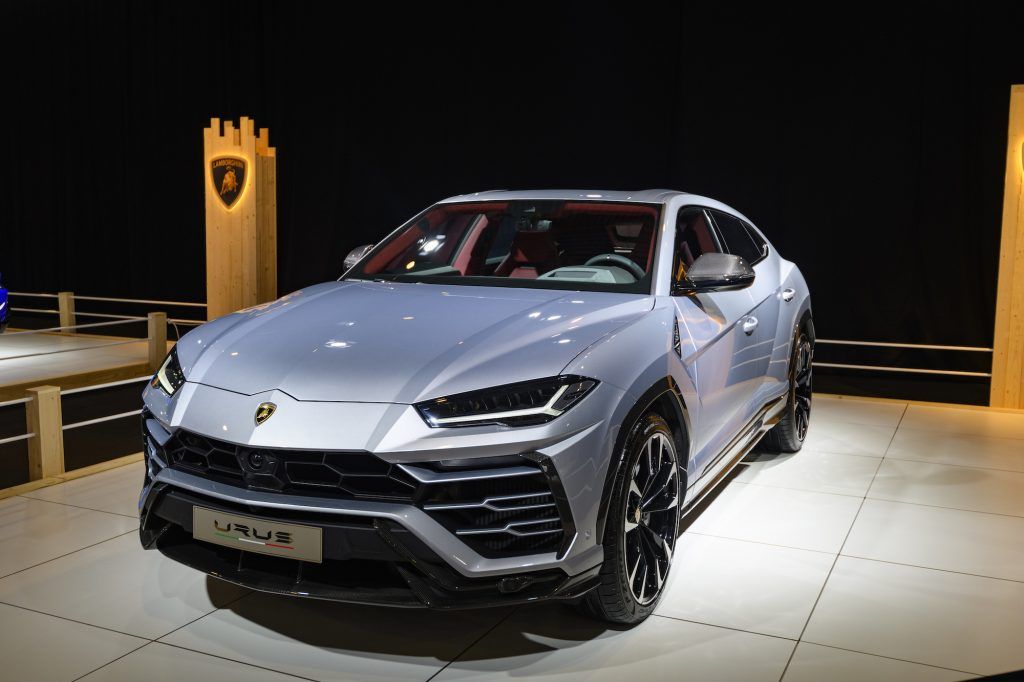 Lamborghini Urus luxury performance SUV on display at Brussels Expo on January 8, 2020, in Brussels, Belgium.