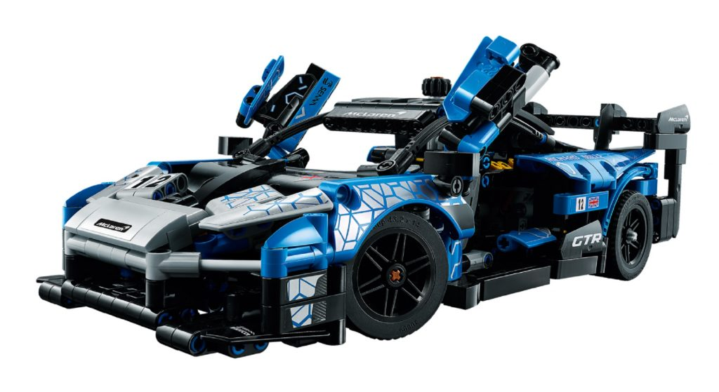 A blue Lego McLaren Senna GTR with its doors up
