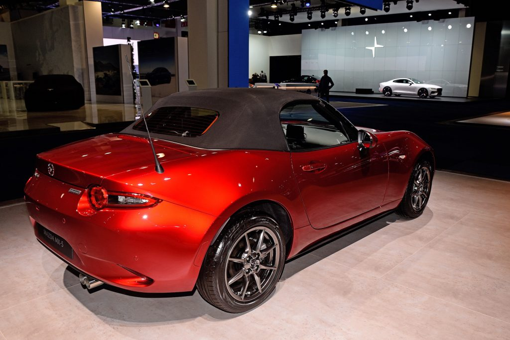 The Mazda MX-5 on display at the Brussels Motor Show
