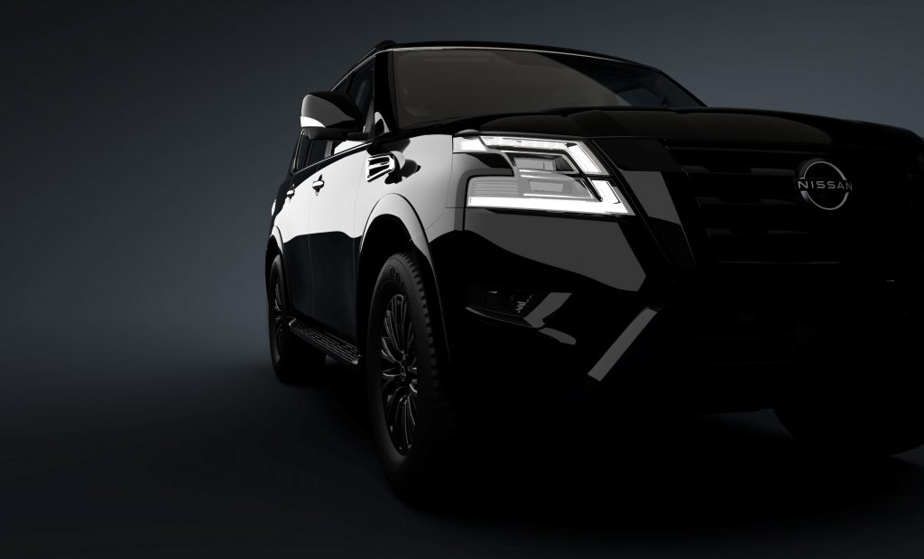 The new Midnight Edition Package, available on Nissan Armada SL, includes black exterior logos, black painted mirrors (heated, power adjust and fold, auto-dimming, reverse linked with puddle lights and LED turn signals), black painted roof rails, rear LED lamps with black paint finisher, black painted grille, and black painted front and rear skid plates.