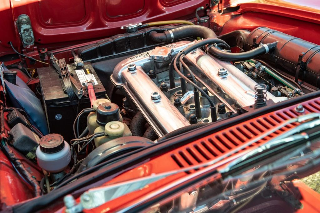 A 1750cc replacement four-cylinder engine in a 1971 Alfa Romeo GT 1300 Junior's engine bay