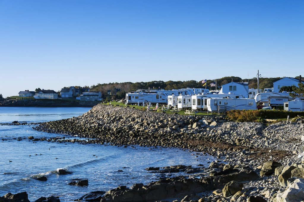 Oceanfront RV campground overlooking the Maine coastline