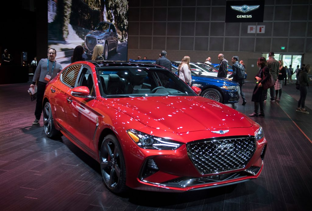 A Genesis G70 on display at an auto show