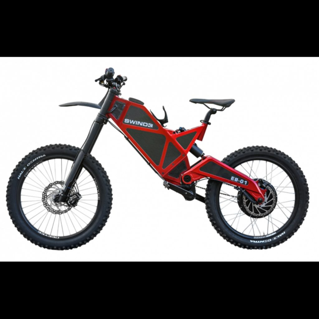 A red electric bicycle called the Swind EB-01.