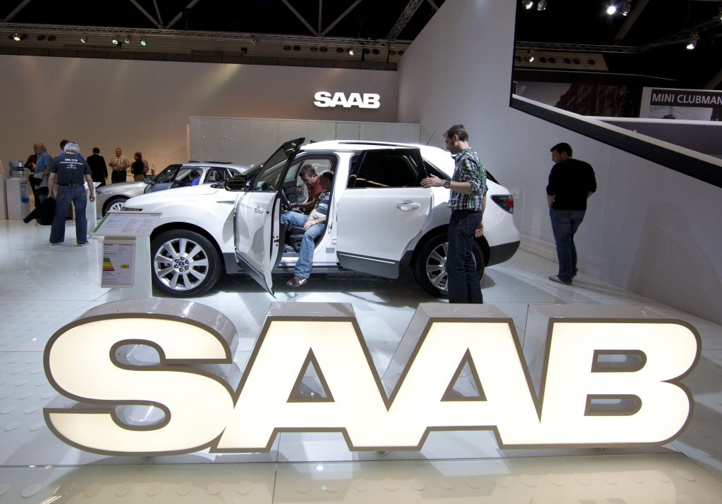 A Saab SUV on display at an auto show