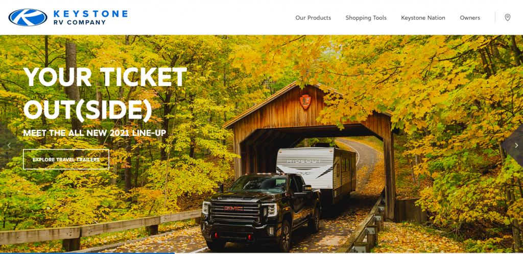 The homepage  of the Keystone RV website.