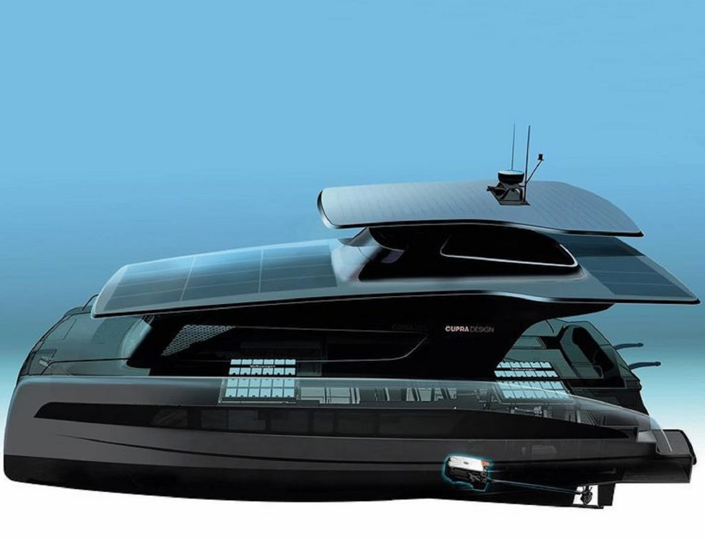 The black solar-powered Silent-Yachts Cupra Design luxury yacht