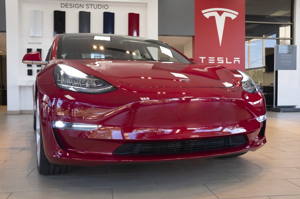 Tesla vehicles are on display at a Tesla store in Palo Alto, California, United States on October 3, 2019.