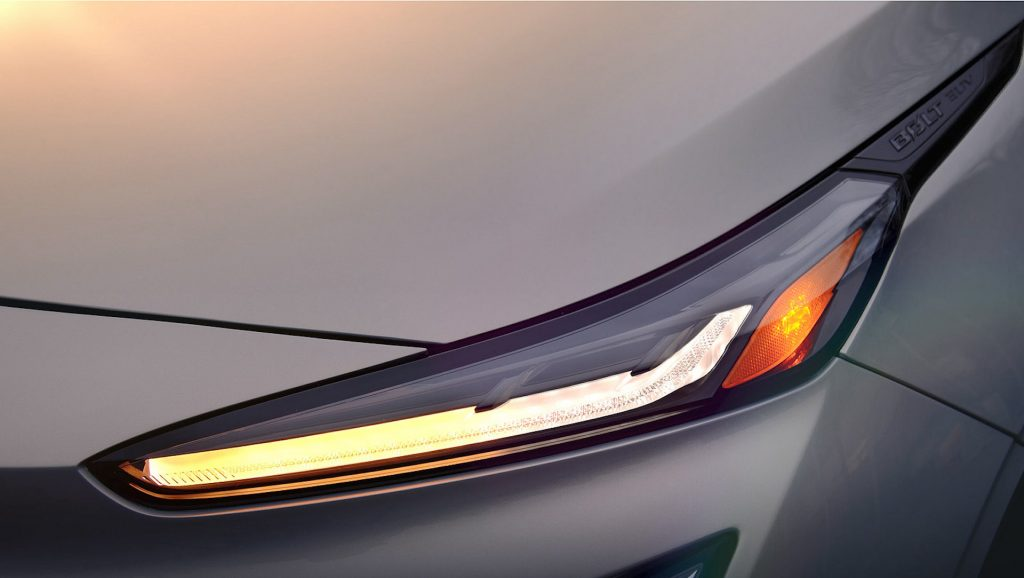 A close up image of the headlight of the upcoming Chevy Bolt EUV.