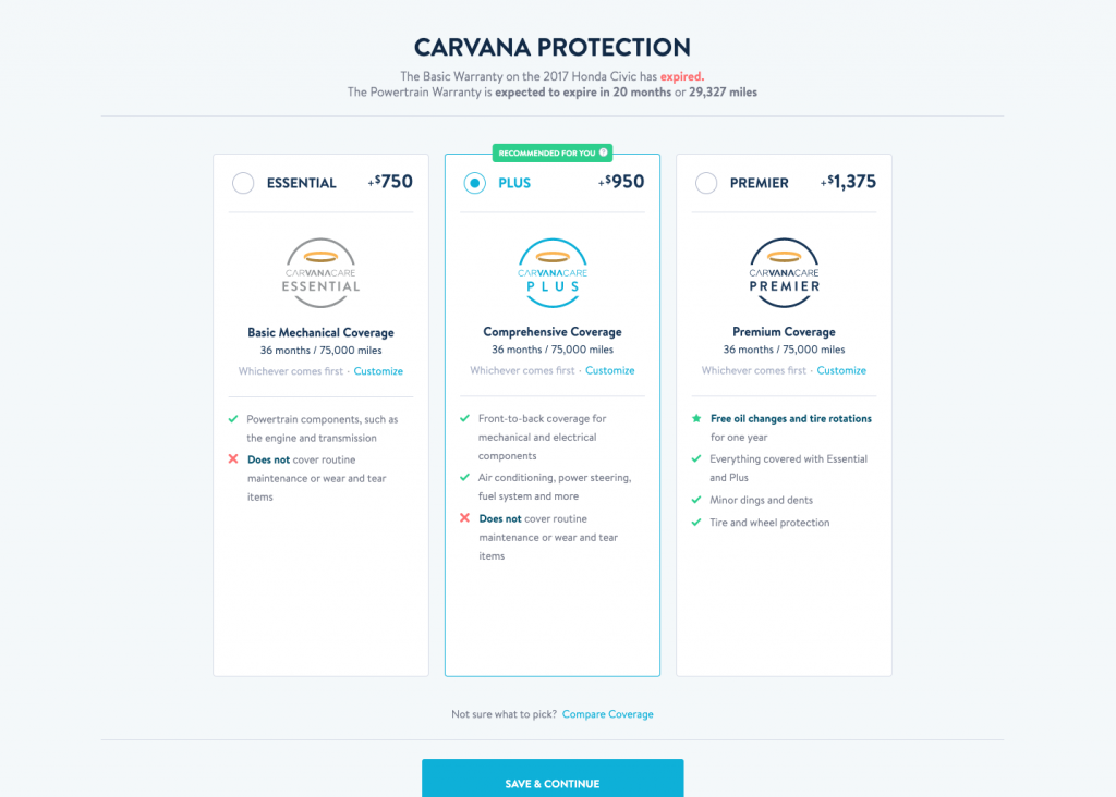 Carvana protection pricing