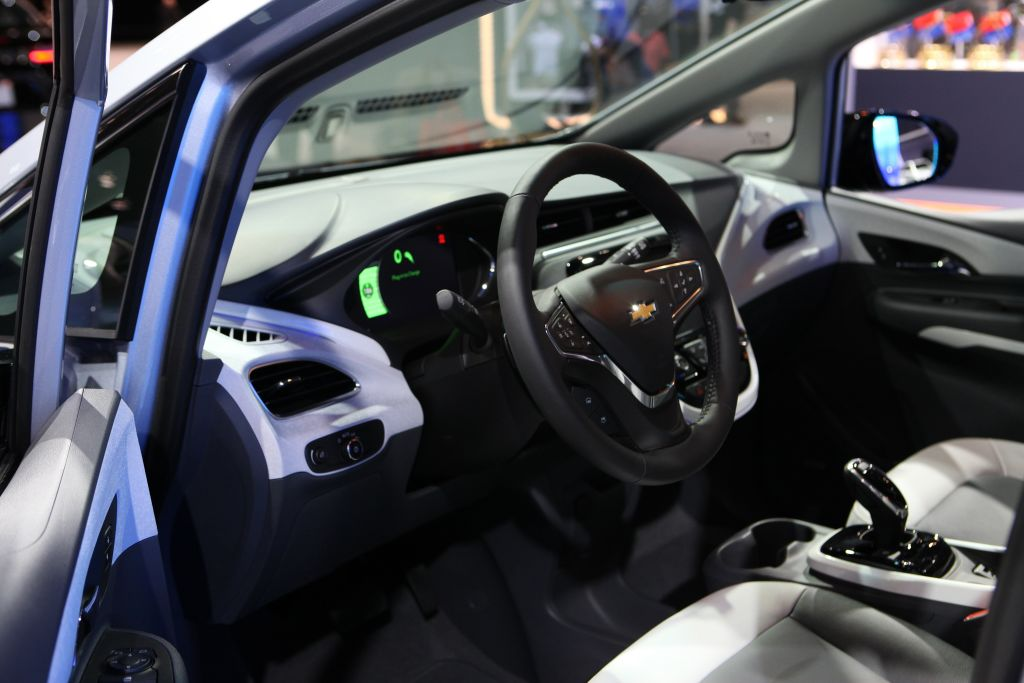 CHICAGO - FEBRUARY 10:  2017 Chevrolet Bolt EV interior is on display at the 109th Annual Chicago Auto Show at McCormick Place in Chicago, Illinois on February 10, 2017.  (Photo By Raymond Boyd/Getty Images)