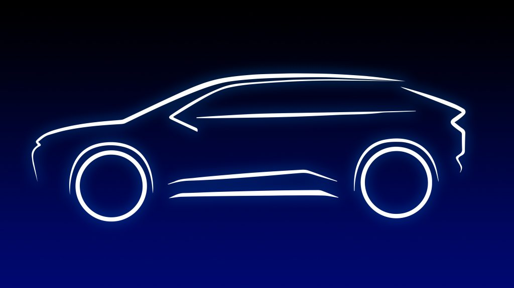 A digital outline image of an upcoming electric Toyota SUV.