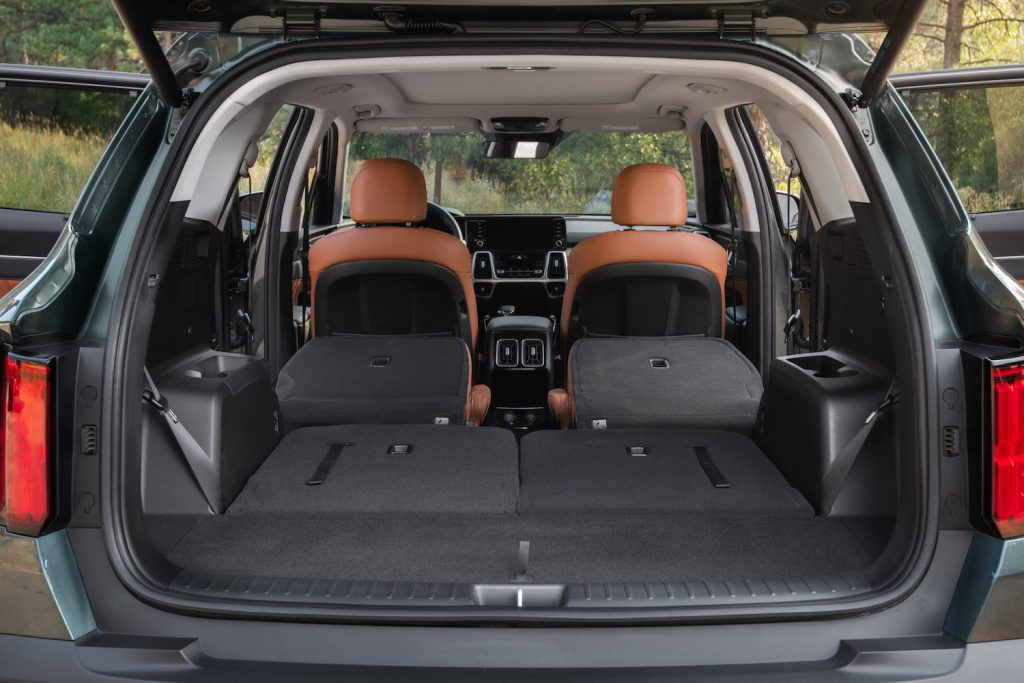 2021 Kia Sorento X-Line interior with all seats folded down