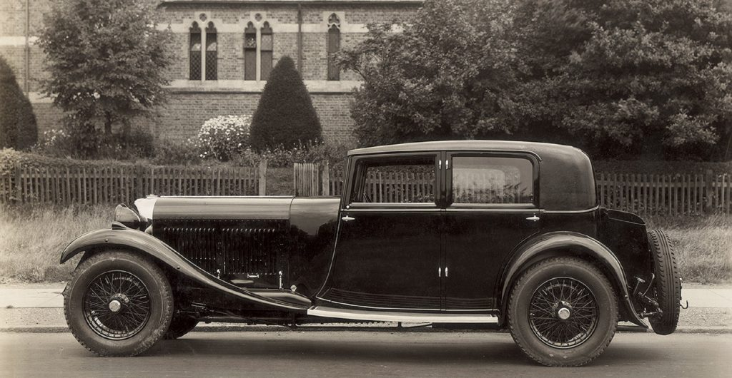 The side view of a 1930 Bentley 8 Litre
