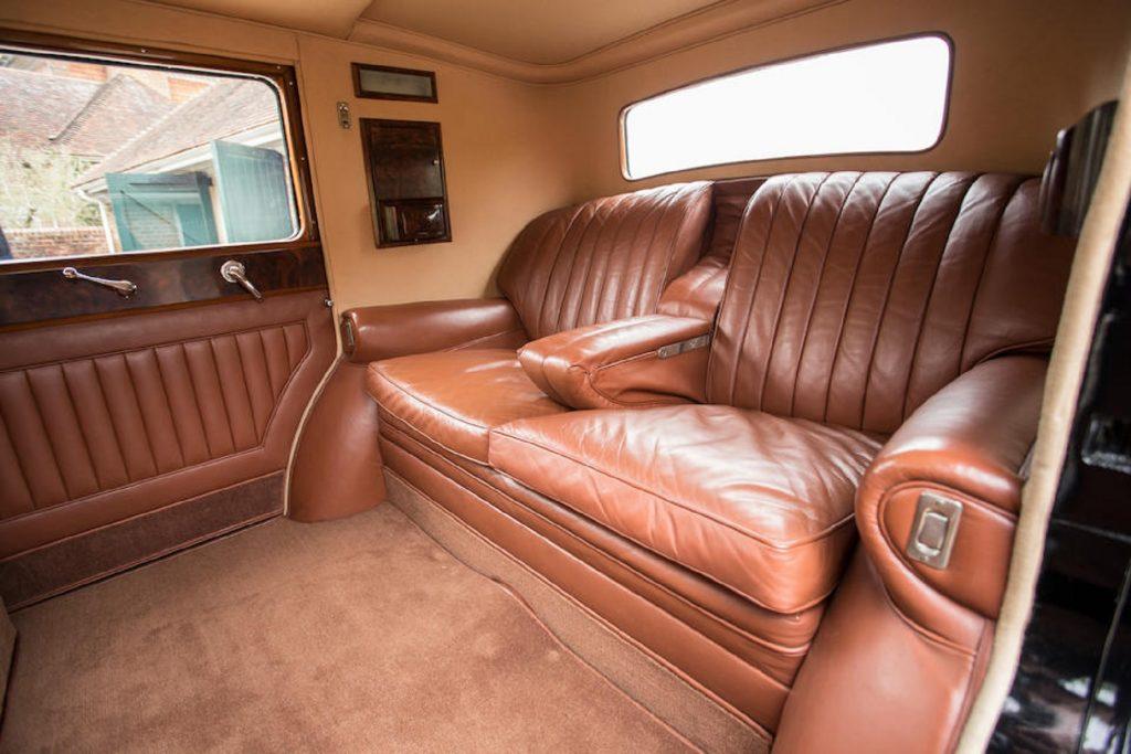 The brown-leather rear seats of a 1931 Bentley 8 Litre Sedanca de Ville