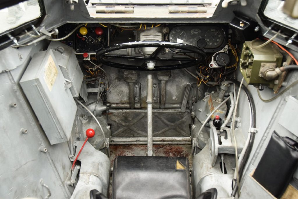 The driver's seat of a 1958 Daimler Ferret scout car