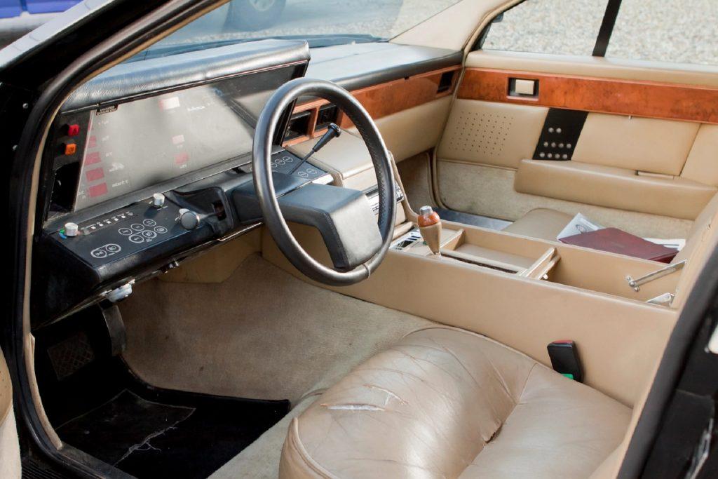 The lan-leather interior of a 1981 Aston Martin Lagonda