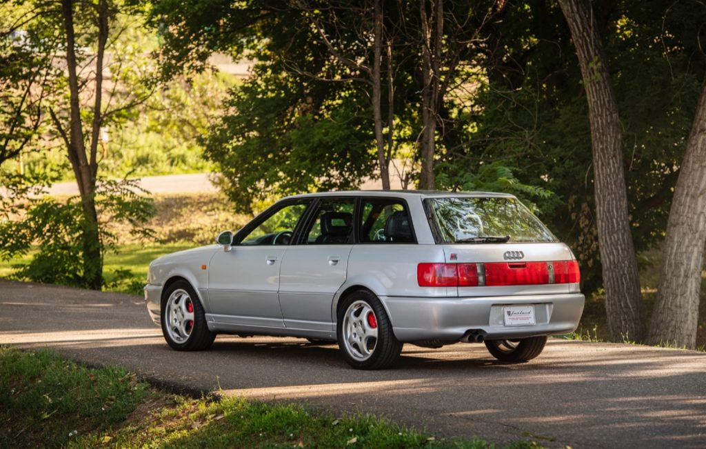 The rear 3/4 view of a silver 1994 Audi RS2 Avant