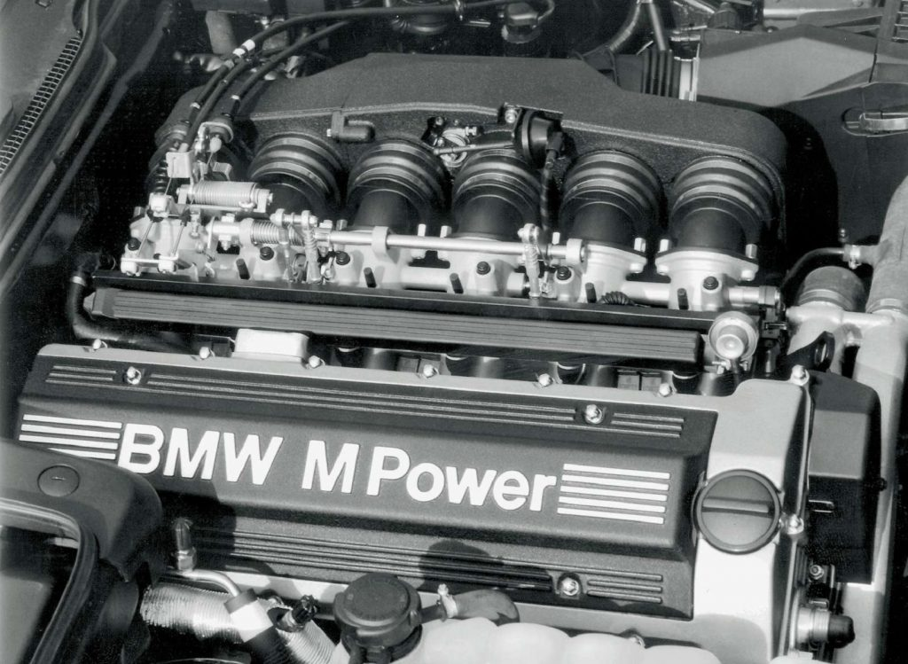The S38 inline-6 in a 1995 BMW M5's engine bay