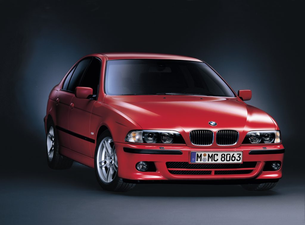 A red 2001 BMW 540i with M-Sport Package