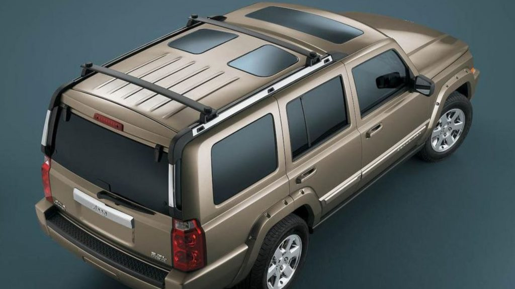 A rear overhead view of the Jeep Commander shows the sunroofs.