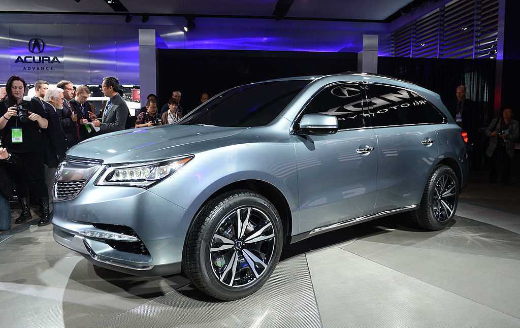 The Acura MDX Prototype is introduced at the 2013 North American International Auto Show in Detroit, Michigan, January 15, 2013. AFP PHOTO/Stan HONDA        (Photo credit should read STAN HONDA/AFP via Getty Images)