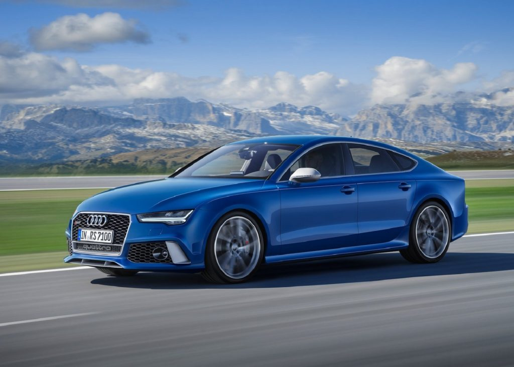 A blue 2016 Audi RS7 Performance on a mountain road