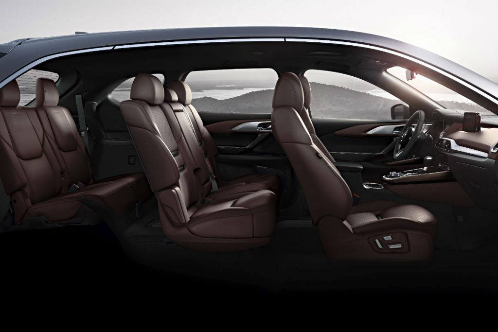 Sideview of the 2019 Mazda CX-9's interior.