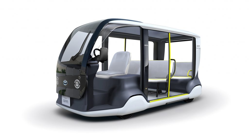 The black and white electric van called the APM, Accessible People Mover by Toyota