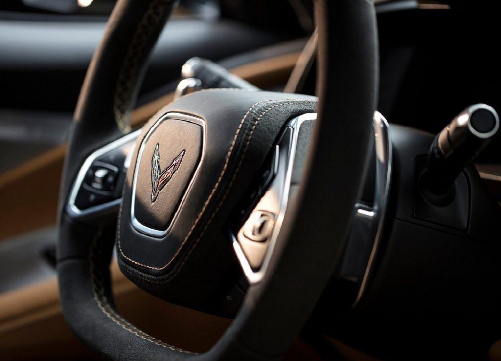 The 2020 Chevrolet C8 Corvette Stingray's black steering wheel