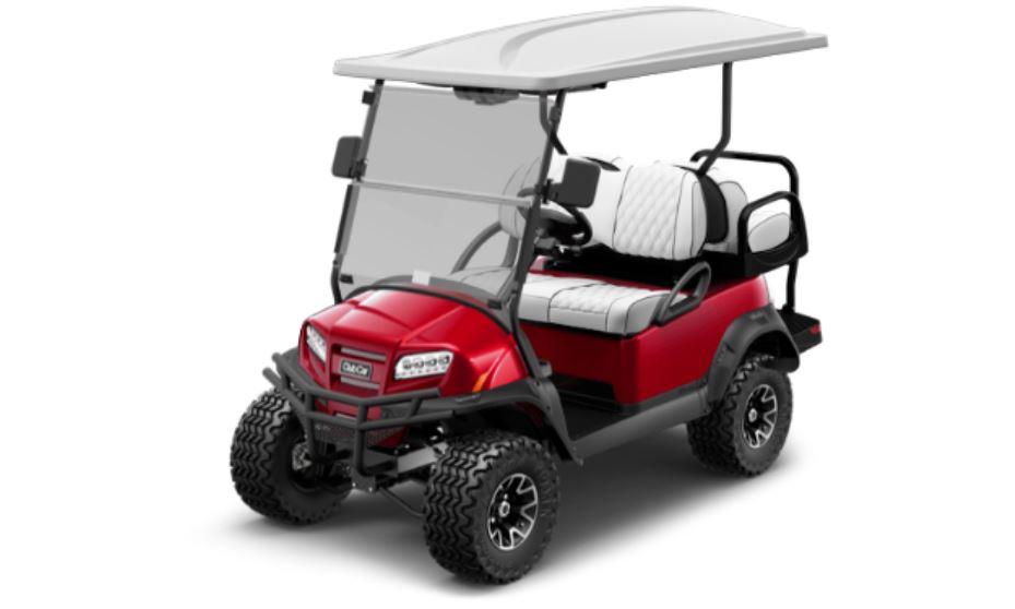 A red lifted golf Club Car golf cart.