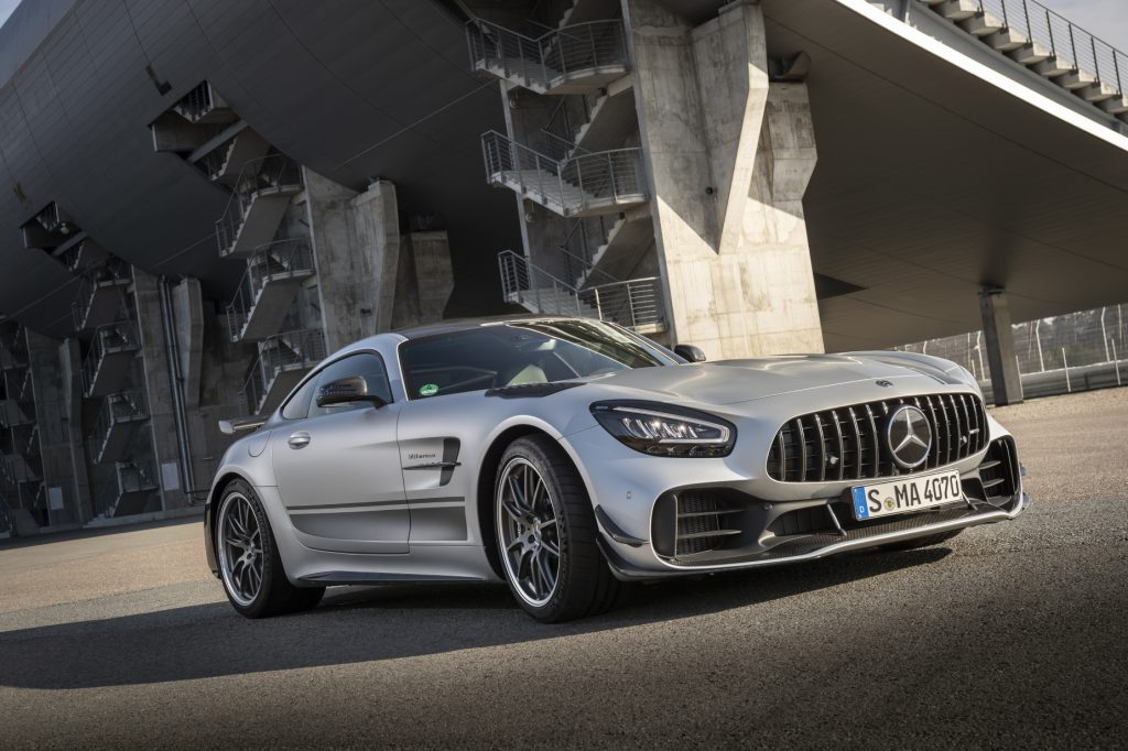 A silver 2020 Mercedes-AMG GT R parked on display