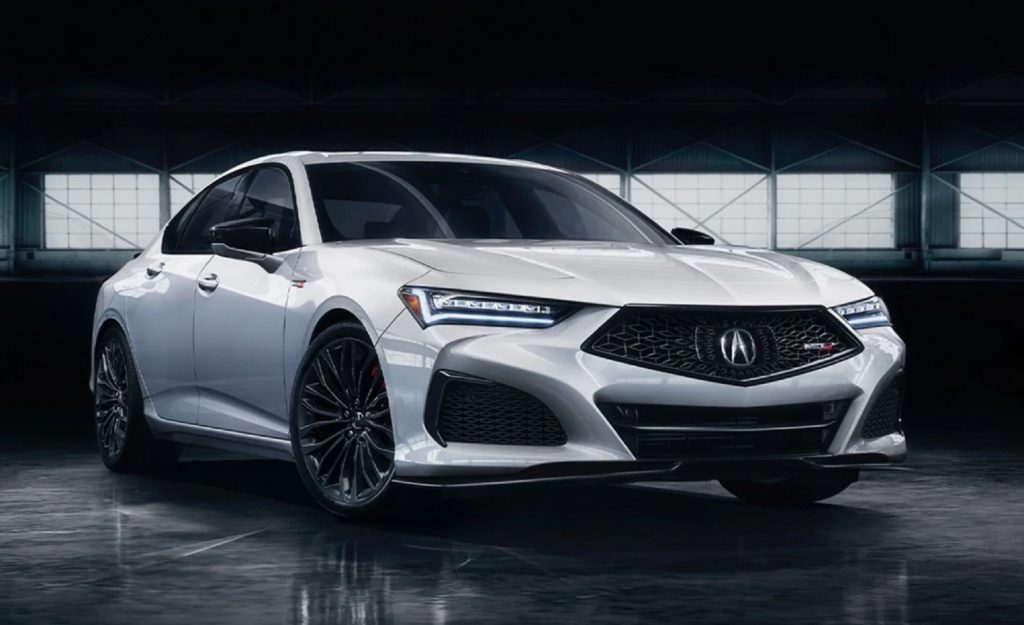 The front 3/4 of a white 2021 Acura TLX Type S