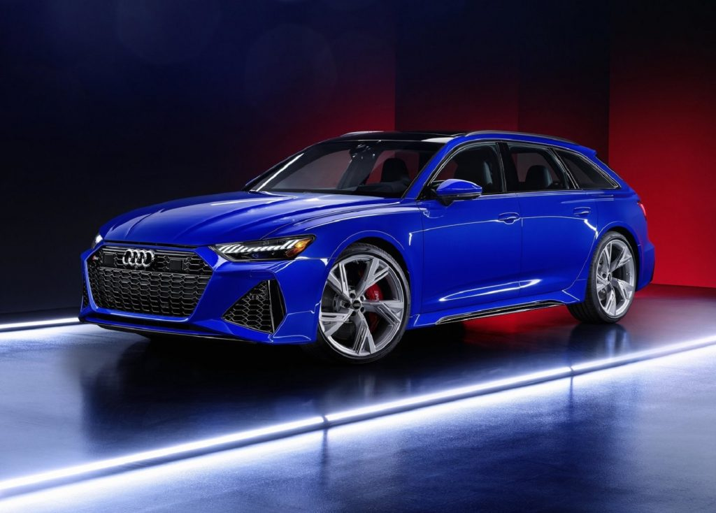 A blue 2021 Audi RS6 Avant RS Tribute Edition