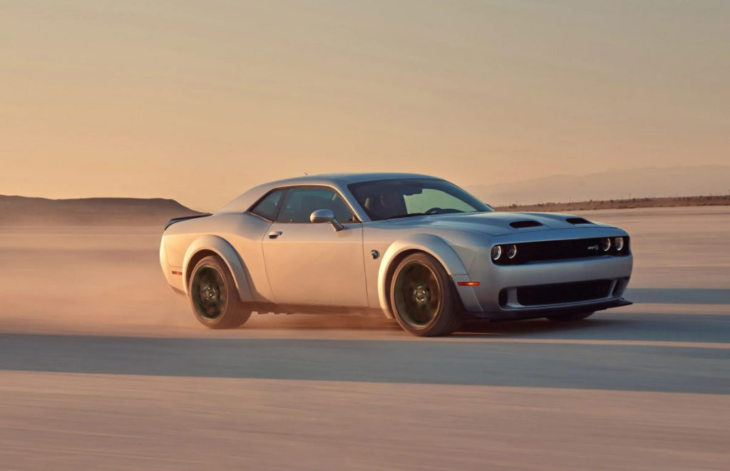 A silver 2021 Dodge Challenger SRT Hellcat Redeye Widebody in the desert