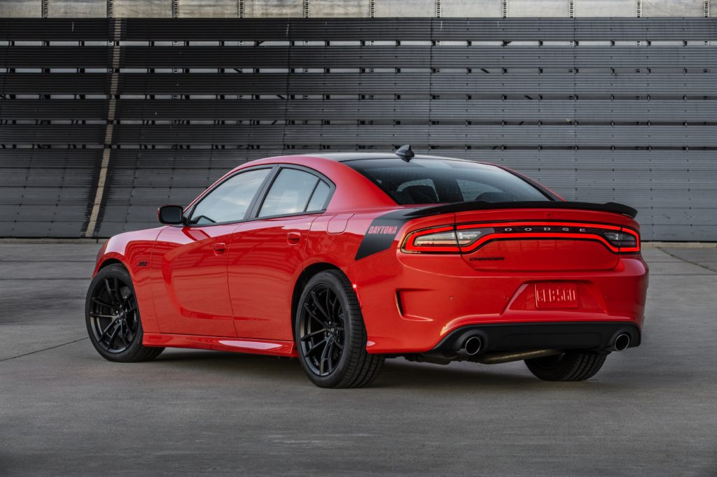 A red 2021 Dodge Charger Daytona parked on display