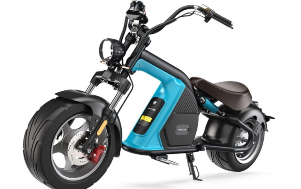 This blue and black electric scooter looks like a motorcycle chopper.