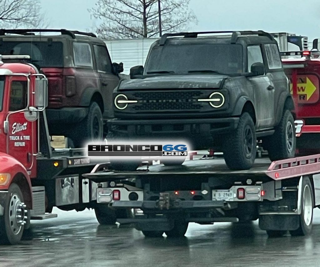 An image of a 2021 Ford Bronco affected by a fire in a transport trailer.
