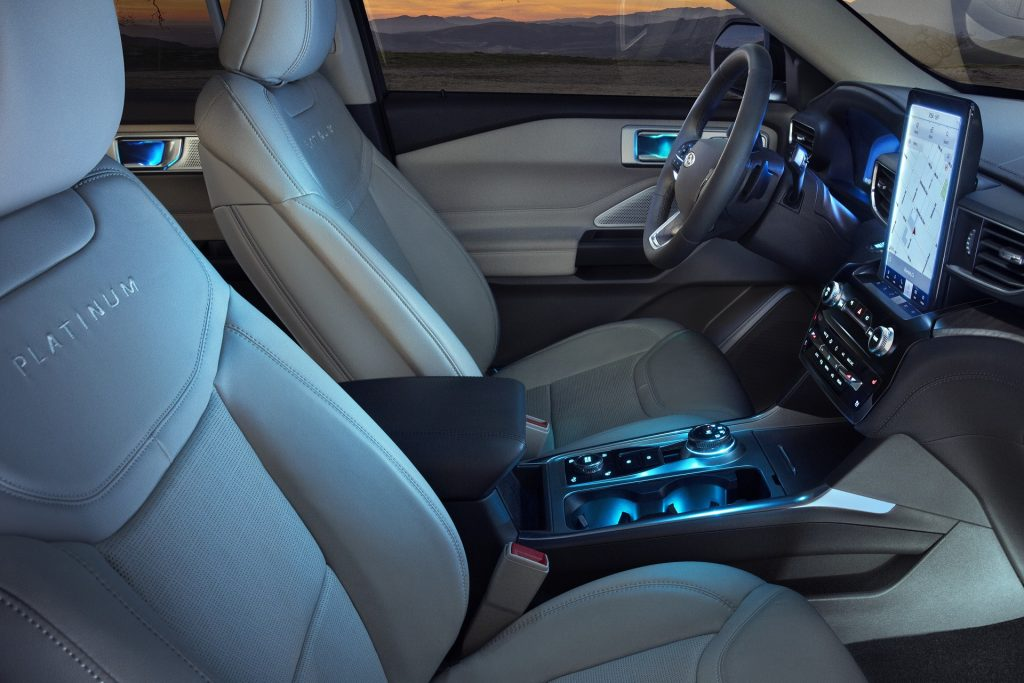 The front seats and dashboard of the 2021 Ford Explorer Platinum