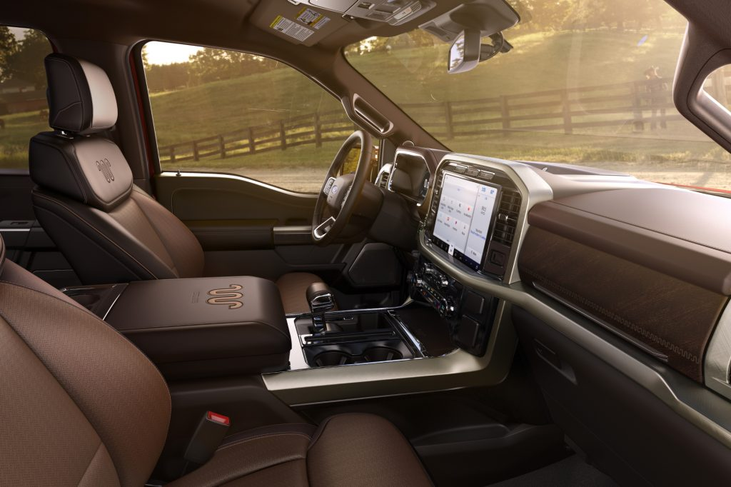 A look at the brown interior of the 2021 Ford F-150 King Ranch