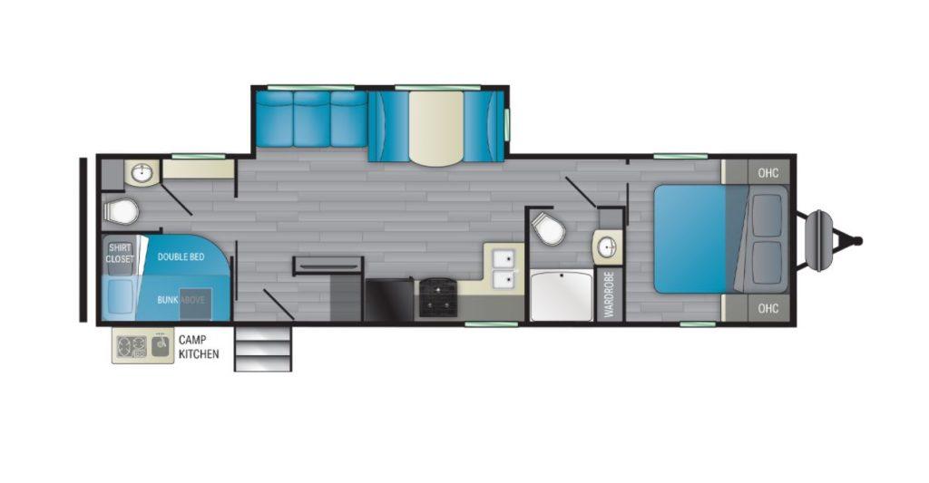 The floorplan of the 2021 Heartland Prowler RV