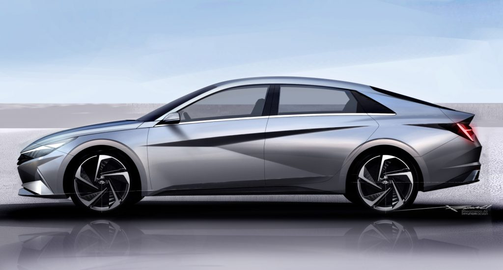A silver 2021 Hyundai Elantra parked on display