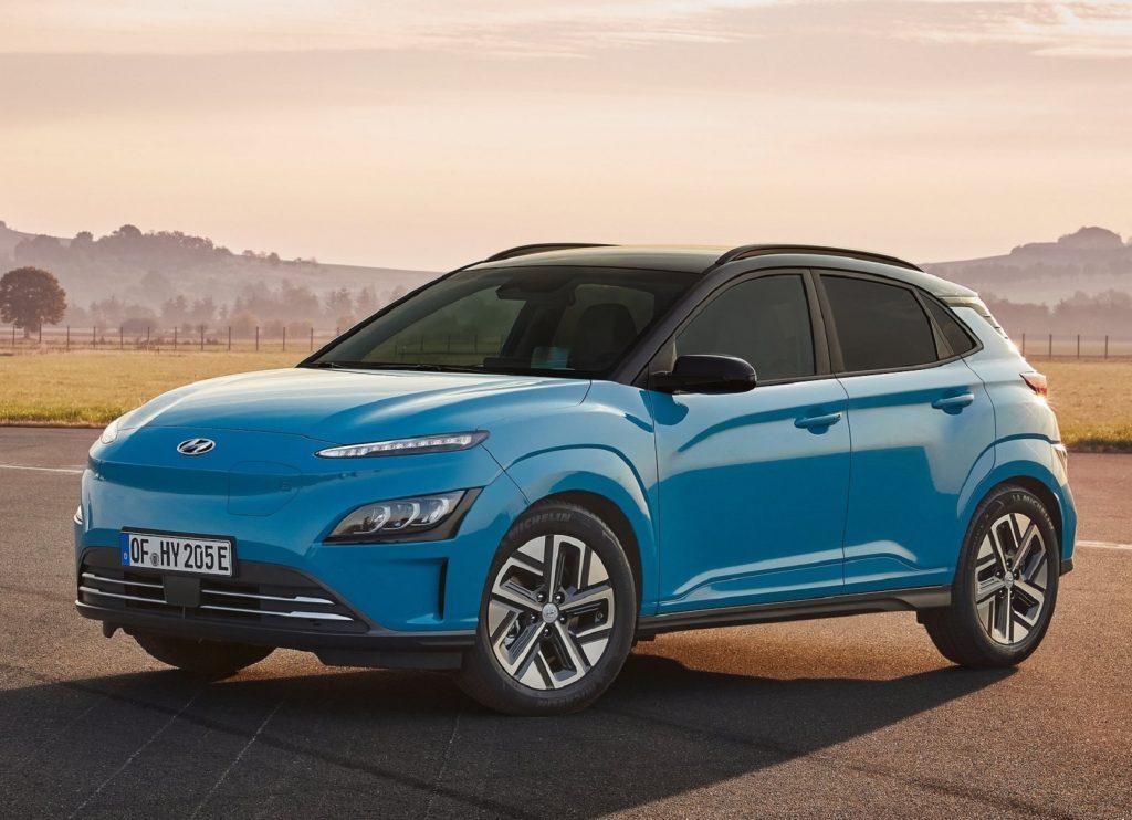 A blue 2021 Hyundai Kona EV showing off utilitarian style unlike the traditional sedan