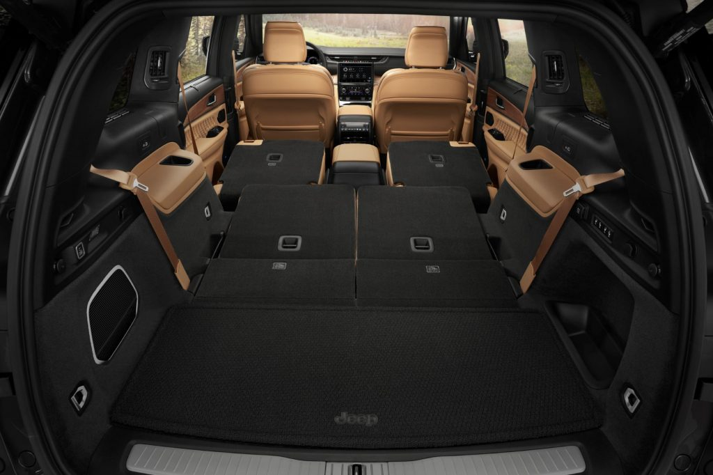 The 2021 Jeep Grand Cherokee L Summit Reserve's cargo area with 2nd- and 3rd-row seats folded