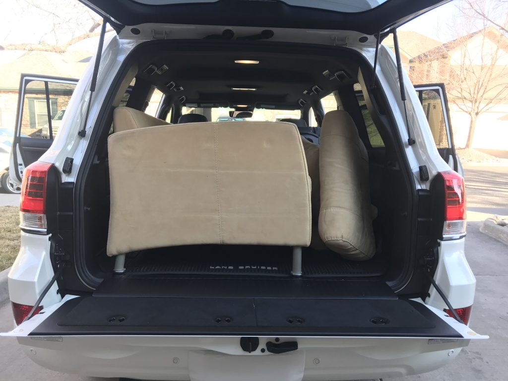 2021 Toyota Land Cruiser with the couch loaded